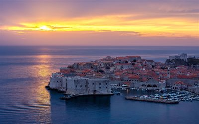 Dubrovnik, Adriatic Sea, Croatia, evening, sunset, resort, seascape, Mediterranean Sea