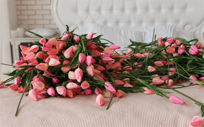 mountain of tulips, pink tulips, pink flowers, tulips, spring flowers, floral decoration