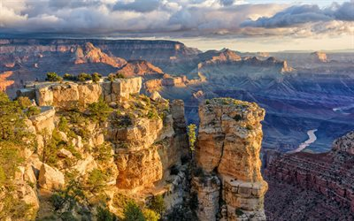 Grand Canyon, evening, sunset, canyon, United States, rocks, Mountain landscape, Arizona, USA