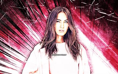 4k, Megan Fox, grunge art, american actress, movie stars, Hollywood, beauty, purple abstract rays, Megan Denise Fox, american celebrity, Megan Fox 4K