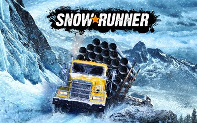 SnowRunner, off-road trucks, poster, promotional materials, winter, racing, off-roading simulation game