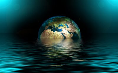 globe in water, 4k, 3D art, Earth, creative, globe