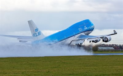 Boeing 747-400, KLM, Royal Dutch Airlines, passenger plane take-off, Netherlands, airliner, Boeing