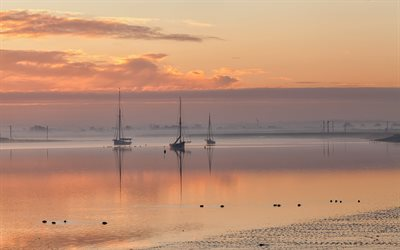 yachts, evening, sunset, seascape, sailboats, beautiful evening landscape