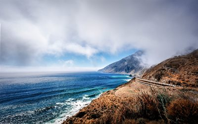 ocean, coast, mountain landscape, road along the ocean, California, USA