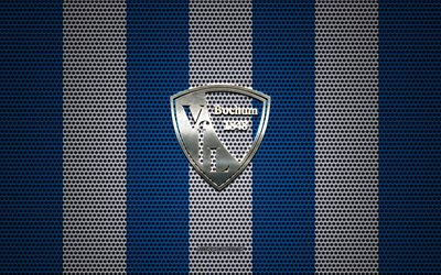 VfL Bochum logo, German football club, metal emblem, blue white metal mesh background, VfL Bochum, 2 Bundesliga, Bochum, Germany, football