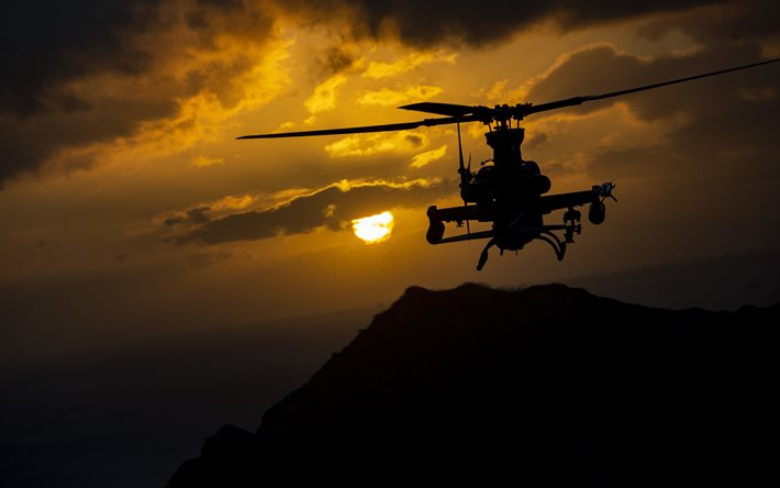 Bell AH-1Z Viper, American attack helicopter, AH-1Z, evening, sunset, military helicopter, US Air Force