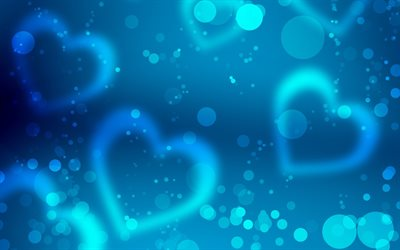 blue hearts background, artwork, abstract art, hearts patterns, love concepts, abstract hearts background, hearts textures, background with hearts