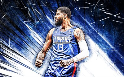 4k, Paul George, grunge art, Los Angeles Clippers, NBA, basket-ball, abstrait bleu rayons, Paul Clifton Anthony George, états-unis, Paul George Los Angeles Clippers, créatif, Paul George 4K, LA Clippers