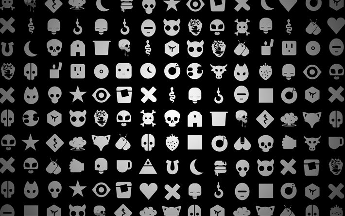 gray icons pattern, 4k, black backgrounds, creative, artwork, background with icons