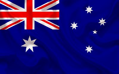 Australian flag, Australia, blue silk, world flags, flag of Australia