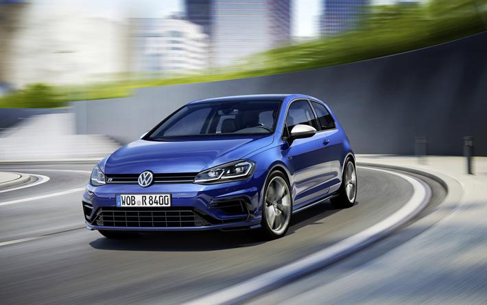 Download Wallpapers 4k Volkswagen Golf R Facelift 2018 Cars Road