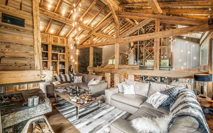Herunterladen hintergrundbild chalet interior, ideen für ...