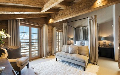 bedroom, Chalet Interior, Wood in the interior, creative Chalet ideas, modern design, Bedroom Chalet style