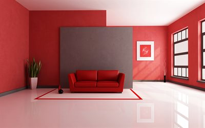 modern design, hallway, red room, modern apartment, interior idea