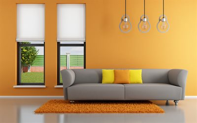 modern design, 4k, hallway, orange room, bulb lamps, gray sofa, modern apartment, interior idea