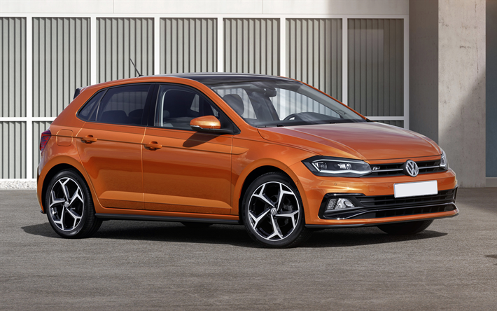 download wallpapers volkswagen polo mk6 2018 cars r line orange polo german cars vw polo. Black Bedroom Furniture Sets. Home Design Ideas