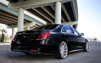 Mercedes-Benz S63 AMG, Vossen, Tuning S-class, black S63, luxury cars, German cars, Mercedes