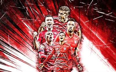 4k, Robert Lewandowski, Jerome Boateng, Ivan Perisic, Philippe Coutinho, Thiago Alcantara, grunge art, Bayern Munich FC, footballers, Bundesliga, red abstract rays, Bayern Munich team, creative, soccer, Germany