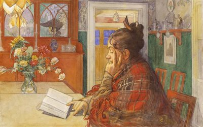 carl larsson, swedish artist, karin reading, 1904