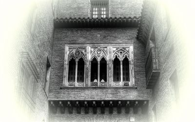 old balcony, zaragoza, spain
