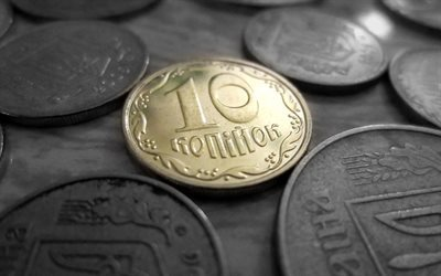 money, hryvnia, 10 cents, macro, coins, ukrainian money