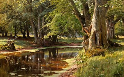 danish artist, forest stream, 1908