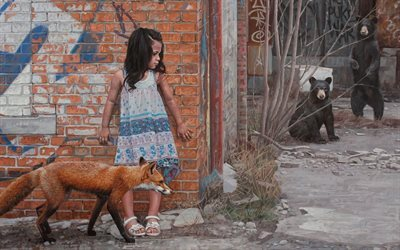 a series of paintings, american artist, kevin peterson, graffiti girls