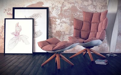 pictures, chair, floor lamp
