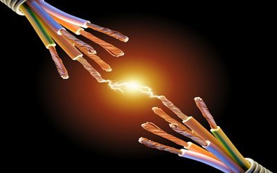 electricity, voltage, copper wire, arc