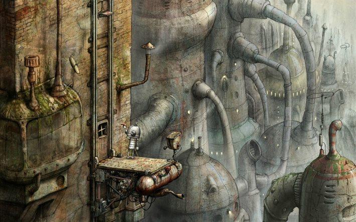 Download Wallpapers Fantasy City Art Steampunk Robots