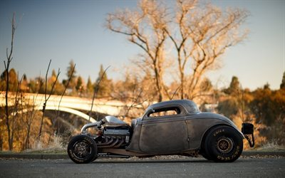 road, ford, autumn, hot rod