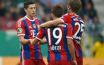 Thomas Muller, Robert Lewandowski, Mario Gotze, Bayern Munich, football, Bundesliga