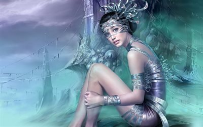princesa, mask, girl, fantasy, art
