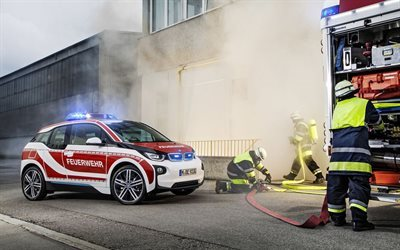 bmw, fireman electric car, hatchback