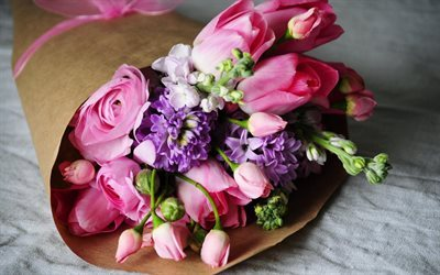 a bouquet of flowers, beautiful bouquets, pink tulips, buttercups