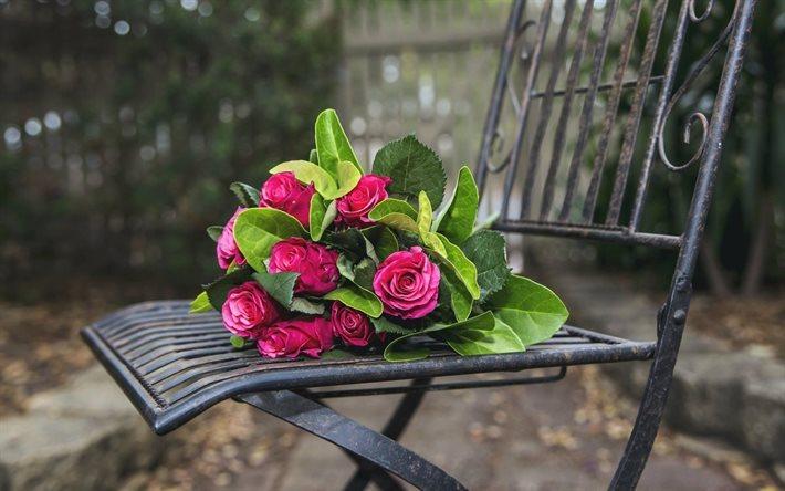 T l charger fonds d 39 cran de belles fleurs en fer forg banc roses les roses roses cowan - Image bouquet de roses gratuit ...