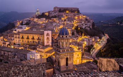 night, italy, lights, ragusa, town, sicily