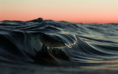 ocean, macro, wave, sunset, water