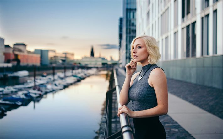 river, blonde, city, beautiful girl, evening