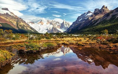 horn lake, sky, snow, south america, mountains, argentina, rocks, patagonia
