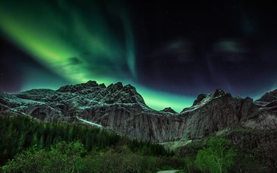 northern lights, mountains, night, gori, norway