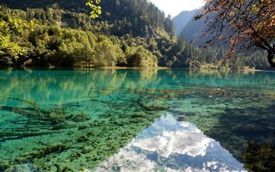 emerald lake, mountains, blue lake, forest, summer, china