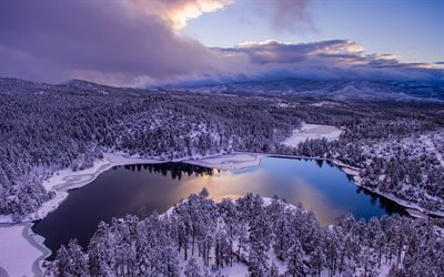 az, goldwater lake, lake goldwater, landscape, snow, prescott, forest, winter, lake, arizona
