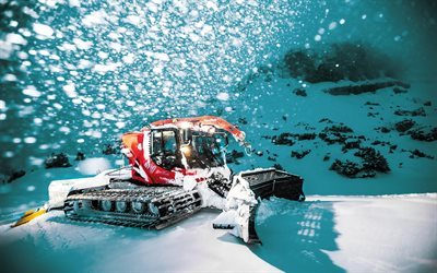 snow removal equipment, pistenbully 600, winter, snow, slope of mountain, shil gori