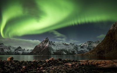 sea, north, night, northern lights, mountains, norway