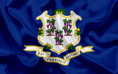 Connecticut Flag, flags of States, flag State of Connecticut, USA, state Connecticut, Blue silk
