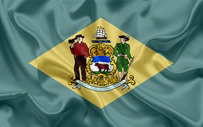 Delaware Flag, flags of States, flag State of Delaware, USA, state Delaware, Green silk, Delaware coat of arms