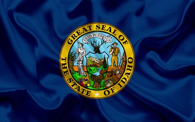 Idaho Flag, flags of States, flag State of Idaho, USA, state Idaho, blue silk flag, Idaho coat of arms