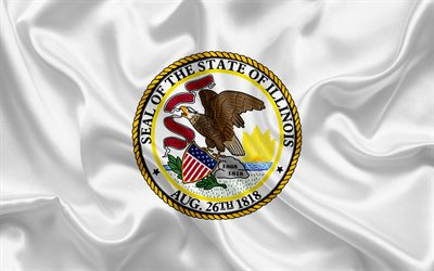 Illinois Flag, flags of States, flag State of Illinois, USA, state Illinois, White silk flag, Illinois coat of arms